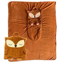2 in 1 Fox Pillow Blanket. Zip Up for A Huggable Animal Pill