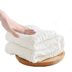 "10 Layers Organic Cotton Baby Bath Towel & Washcloth 43"" x 4"