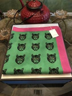 100% Authentic GUCCI Green & Pink Cat Wool Baby Blanket Thro