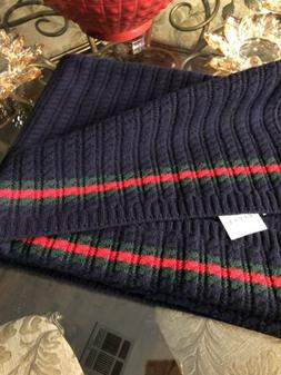 100% Authentic GUCCI Navy Blue Wool Baby Blanket Throw $499