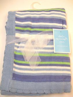 LITTLE BEGINNINGS 100% Cotton Baby Boy Knit Stripe Blanket 9