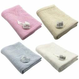 100% Cotton Baby Cellular Blanket Pram Cot Bed Crib Soft Mos