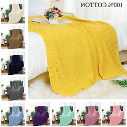 100% Cotton Soft Warm Knit Throw Blanket for Couch Bed Sofa