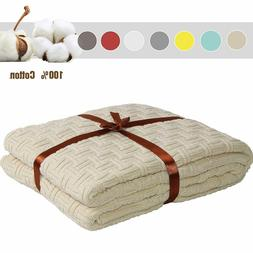 "100% Cotton Knitted Throw Blanket 51""x70"" Sleeping Cover for"