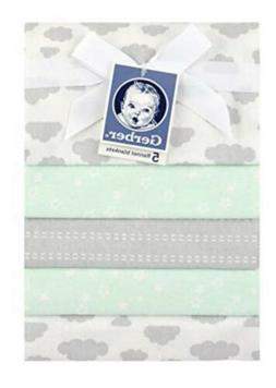 Gerber 100% Cotton Receiving Blankets, Green Flannel, 5 Coun