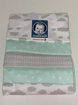 GERBER 100% Cotton Receiving Blankets, Green Flannel, 5-Coun