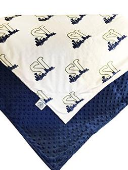 Seattle Seahawks Navy Blue and Lime Green Minky Blanket Baby