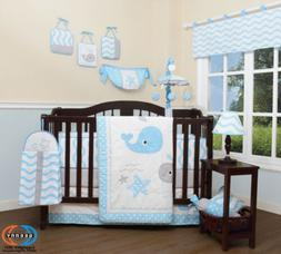 13PCS  Lovely Whale Baby Nursery Crib Bedding Sets  Holiday