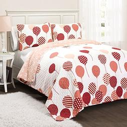 Lush Decor 16T000546 2 Piece Flying Balloon Quilt Set, Twin,