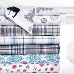 Bibb Home 100% Cotton Printed Flannel Sheet Set - Cozy, Soft