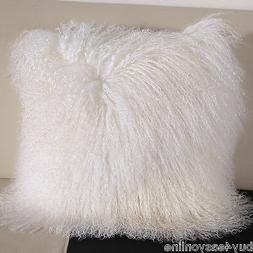 "18x18""Mongolian Fur Pillow Case 45x45cm Square White Fur Cus"
