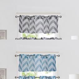 1PC CHEVRON STRAIGHT VALANCE TOPPER VOILE SHEER WINDOW CURTA
