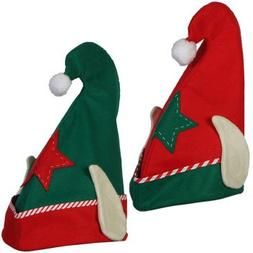 2 Pack: Christmas House  Felt Elf Hats With Ears, 13.5 Inch