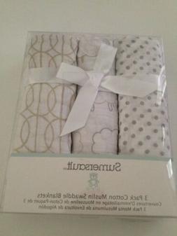 Spasilk 2 Cotton Muslin Baby Boy Swaddle Receiving Blankets