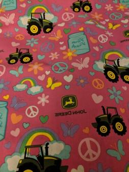 2 layer pink flowers cotton flannel John deere   baby person