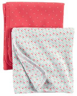 2-Pack Babysoft Swaddle Blankets Pink White Aqua Heart Geo C