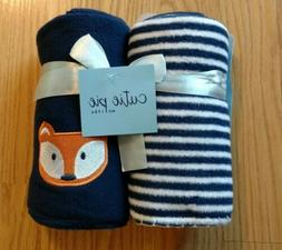 2 Pack CUTIE PIE Fleece Baby Blanket Fox Stripes Boys Lovey