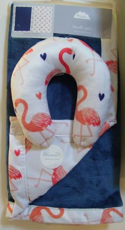 Cloud 9 2 Pc Blue Corl Flamingo Reversible Baby Blanket & Tr