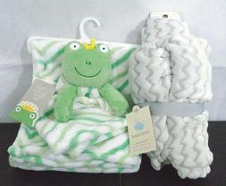 2-Piece Babies Light Green/Gray&White Frog Security Blanket