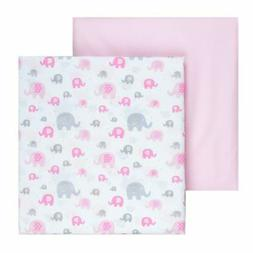 Tadpoles 2 Piece Microfiber Crib Fitted Sheets, Elephant, Pi