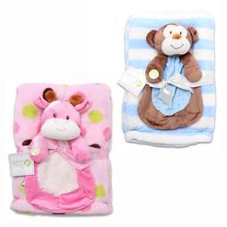 Baby Gear 2-Piece Plush Throw Blanket Set Squeaky Teddy Bear