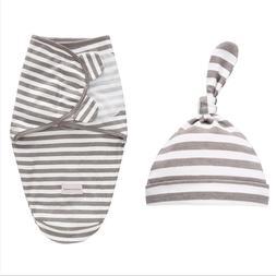 LAT 2 Pieces Set Newborn Swaddle Wrap +Hat Cotton <font><b>B