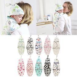 CALOFE 2 Pieces Set Newborn Swaddle Wrap +Hat Cotton <font><