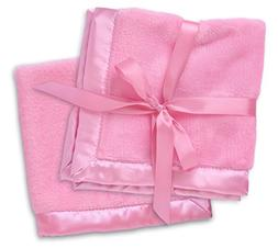 2 Pink Security Blankets, Baby Blankie Small Mini Blanket, 1