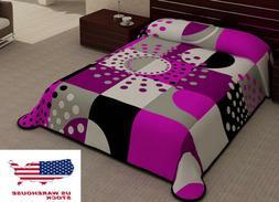 2 Ply New Pink Black Blanket Reversible King Size Plush Soft