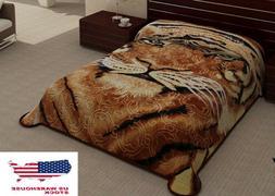 2 Ply Tiger Head Animal Brown Black Blanket Reversible King