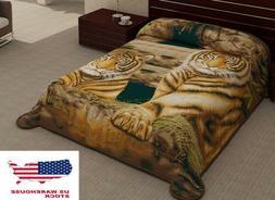 2 Ply Tigers Animal Brown Black Blanket Reversible King Size