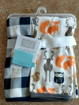 2 Hudson Baby Swaddle Blankets Woodland Fox Owl Moose Infant