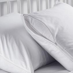 2 white hotel hypoallergenic pillow case zippered bed bug mi