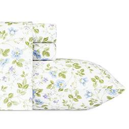 Laura Ashley Spring Bloom Wildflower Sheet Set, Queen, Blue,