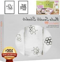 $24 - 3 Muslin Swaddle Blankets Cotton Baby Receiving Blanke