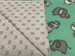 28x35 Handmade 100% Cotton Flannel & Fleece Baby Blanket Ele