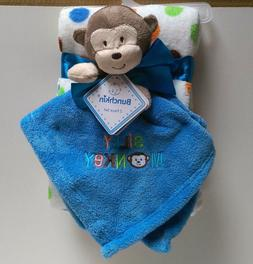 """2pc Baby Infant Lovey Security Blanket Blue """"Silly Monkey"""" P"""