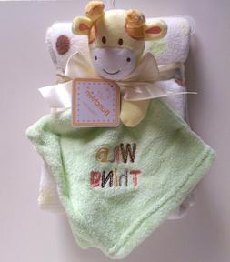 """2pc Baby Infant Lovey Security Blanket Giraffe """"Wild Thing"""""""