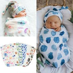 2PCS 0-3M Newborn Infant Baby Swaddle Blanket Wrap Sleeping