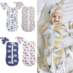 2PCS 0-6M Newborn Baby Zipper Swaddle Blanket Wrap Sleeping