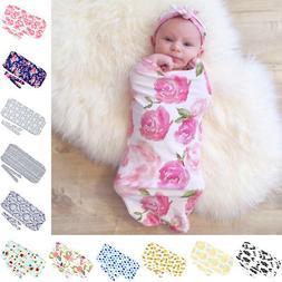 2PCS Newborn Baby Printed Wrap Blanket Swaddle Sleeping Bag