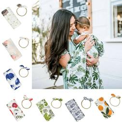 2PCS Newborn Infant Baby Print Swaddle Headband Sleeping Bag