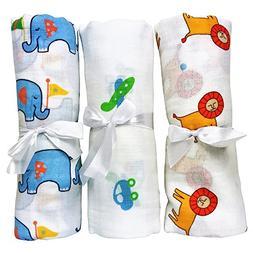 3 Muslin Baby Swaddle Blankets Calms Cranky Newborn Boys. Du