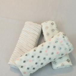 Modern Baby 3 pack Muslin Blanket White with Pink, Gray Silv
