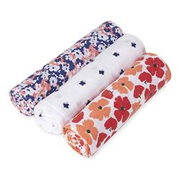 3 Piece Classic Swaddle White Label Baby Blanket Flora Stays