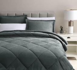 3-Piece Diamond Quilted Cuddly Sherpa Down Alternative Comfo