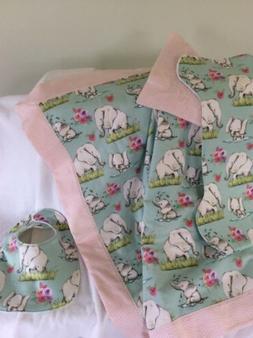 3 piece set Flannel Baby Blanket, Burp Cloth & Bib handmade.