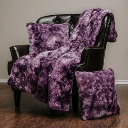 Chanasya 3-Piece Set Soft Faux Fur Throw Blanket Cozy Sherpa