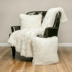 Chanasya 3-Piece Set Super Soft Sherpa Shaggy Throw Blanket