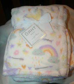 "THRO Brand Baby Blanket 30"" by 40"" UNICORNS RAINBOW Pastel,"